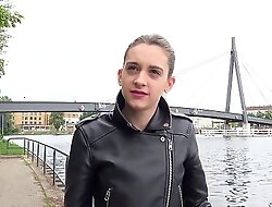 GERMAN SCOUT - ANAL FOR PETITE 18yr YOUNG CHEATING GIRL AT STREET CASTING