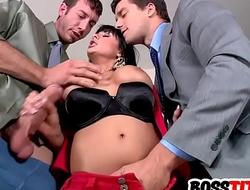 Sexy busty MILF needs two dicks