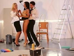 LOS CONSOLADORES - Russian indulge Sasha Rose gets cum covered in hot FFM threesome