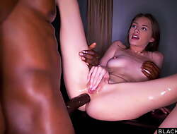 BLACKEDRAW Thirsty Brunette gets DPd by two thick BBCs