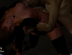 Hentai sex girl Aya in sex with dry-as-dust men zombies in The hounds of the blade game