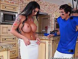 Busty stepmom Melissa Lyn slammed in the kitchen